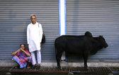 Pár čeká mimo obchod, Miloš, Indie — Stock fotografie