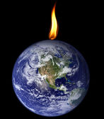 Planet consumed by flame — Stock Photo