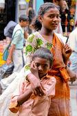 Two children on street — Stock Photo