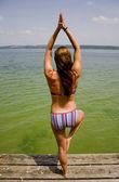 Yoga tree on lake — Stock Photo