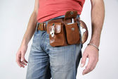 Series: male belt bags pouches — Stock Photo