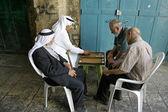 Old arab men playing backgammon, old city, jerusalem, israel — Stock Photo