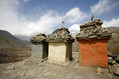Tibetan memorial tombs, annapurna, nepal — Stock Photo