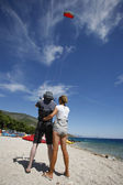 Kite surfing tuition on the Croatian coast — Stock Photo