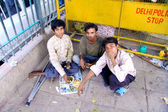 Poor children on street — Stock Photo