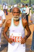 Elderly male sikh marathon runner — Stock Photo