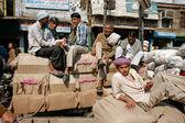 Indian labourer's break — Foto de Stock