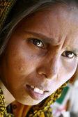 Woman beggar on the street, delhi, india — Stock Photo