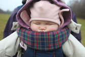 Baby sleeping in carrier — Stock Photo