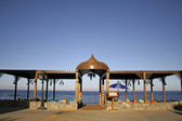 Restaurant on the beach in dahab, red sea, sinai, egypt — Stock Photo