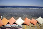 Cushions in red sea resort restaurant, sinai, egypt — Stock Photo
