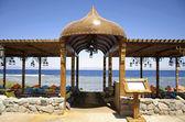 Resort restaurant on the red sea in dahab, sinai, egypt — Stock Photo