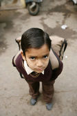 Boy leaving for school, delhi, india — Stock Photo