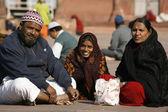 Muslim family Jama Masjid, Delhi, India — Stock Photo