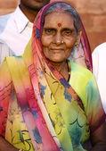 Old hindu lady with family, delhi, india — Stock Photo