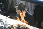 Lag Baomer pilgrim with beard and payot during the festivities. — Stock Photo