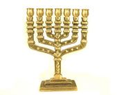 Golden colour jewish chandelier menorah — Stock Photo