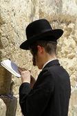 Young hasidic jew at the wailing western wall, jerusalem, israel — Stock Photo
