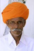 Portrait of a farmer, rajasthan, india — Stock Photo