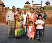 Indian family at the red fort, delhi, india — Stock Photo