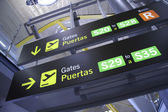 Gate information panelin airport, madrid, spain — Stock Photo