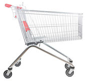 Metal shopping trolley isolated on white background — Stock Photo