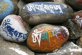 Tibetan mani prayer stones — Stock Photo