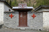 Small red cross dispensary on the annapurna circuit, nepal — Stock Photo