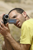 Bird watcher sede boker desert, israel — Stock Photo
