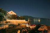 Night shot of house on mediterranean seaside in croatia — Stock Photo