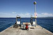 :Petrol fuelling station on mediterranean seaside, croatia — Stok fotoğraf