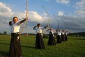 Group kyudo shoot — Stock Photo