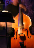 Contrabass player at theatre — Stock Photo