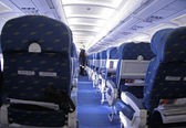 Rows of seats in airplane — Foto Stock