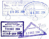Visa passport stamp from Burma and Thailand — Stock Photo