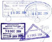 Visa passport stamp from Burma and Thailand — Stock Photo