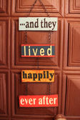 Happiness door sign — Stock Photo