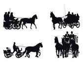 Paard en wagen — Stockvector