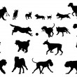 Dog Silhouettes — Vector de stock