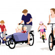 Stock Vector: Family Bicyclle Trip
