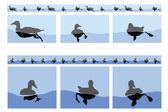Floating Ducks — Stock Vector
