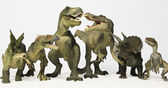 A Group of Six Dinosaurs in a Row — Stock Photo