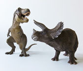 A Triceratops and Tyrannosaurus Against a White Background — Stock Photo