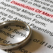 A Divorce Petition and Gold Wedding Band - Stock Photo