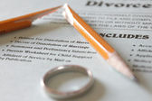 A Divorce Petition, Broken Pencil and Wedding Band — Stock Photo