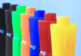 A Line of Seven Colored Watercolor Markers — Stock Photo