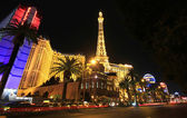 A night shot of Paris on the Strip — Stock Photo