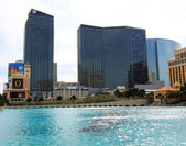 A sunny view of the Bellagio and Cosmopolitan Hotels — Stock Photo