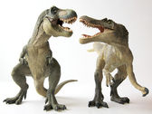 A Tyrannosaurus Rex Dinosaur Battles a Spinosaurus — Stock Photo