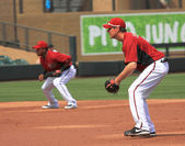 Arizona Diamondbacks Infielders Tony Abreu and Kelly Johnson — Stock Photo